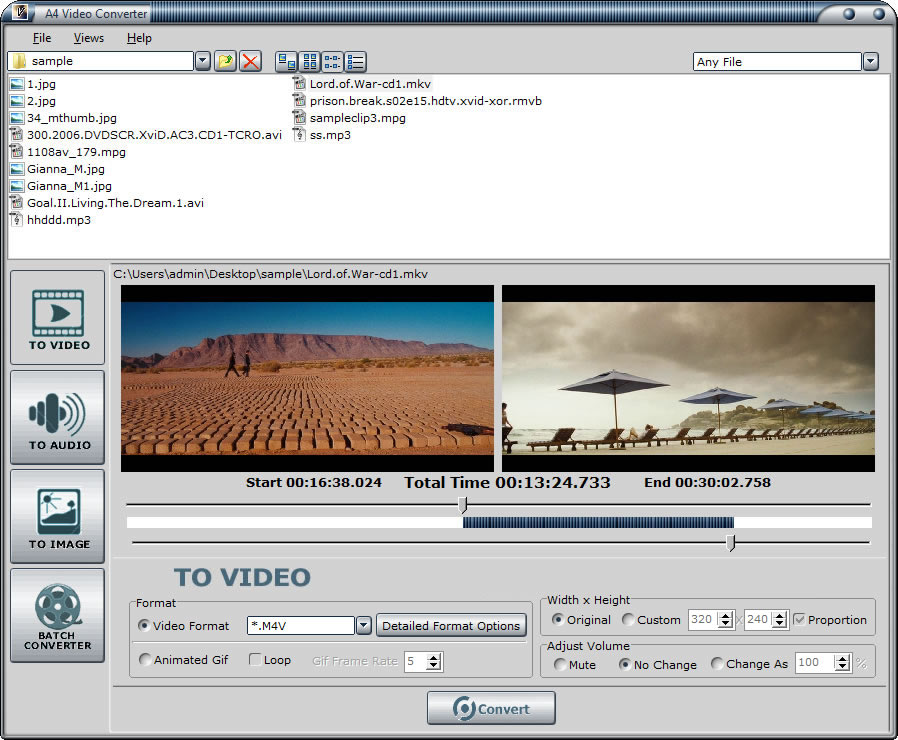 Convert video to video clips, audio and image